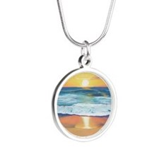 Marine Street Sunset a shirt Silver Round Necklace
