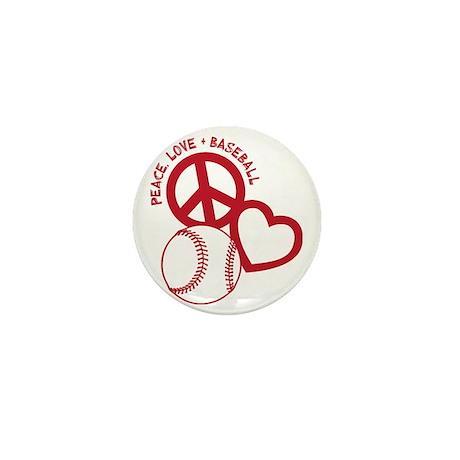 P,L,Baseball, red Mini Button
