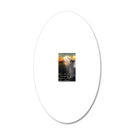 Lighthouse With Praying Ange 20x12 Oval Wall Decal