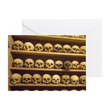 Meteora. Skulls of monastics on shel Greeting Card