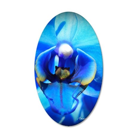 Blue Orchid 35x21 Oval Wall Decal