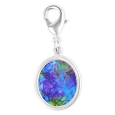 443 Blue Purple Silver Oval Charm