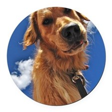 GOLDEN RETRIEVER T-SHIRT Round Car Magnet
