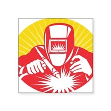 "welder welding worker holdi Square Sticker 3"" x 3"""
