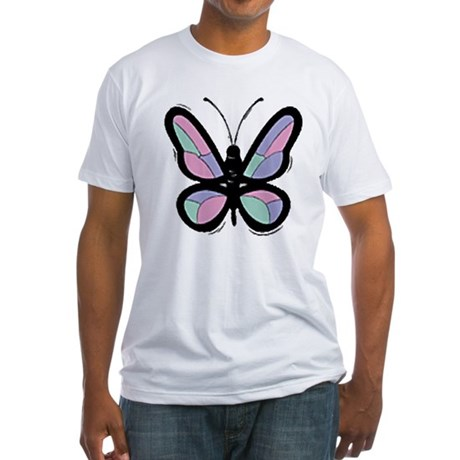 Patchwork Butterfly Fitted T-Shirt