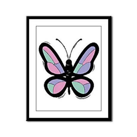 Patchwork Butterfly Framed Panel Print