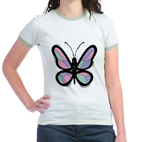 Patchwork Butterfly Jr. Ringer T-Shirt
