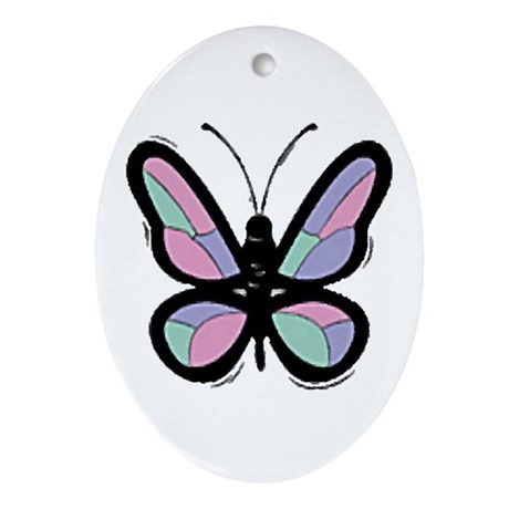 Patchwork Butterfly Oval Ornament