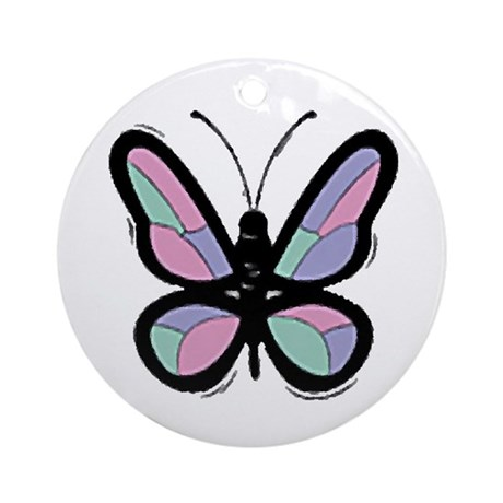 Patchwork Butterfly Ornament (Round)
