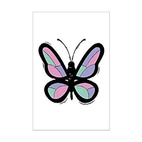 Patchwork Butterfly Mini Poster Print