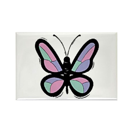 Patchwork Butterfly Rectangle Magnet
