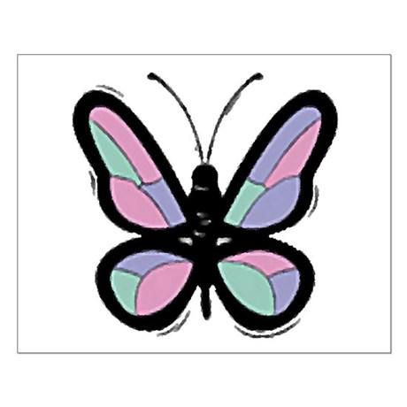 Patchwork Butterfly Small Poster