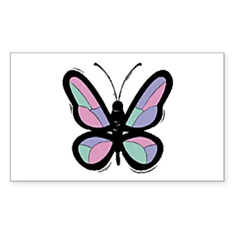 Patchwork Butterfly Rectangle Sticker