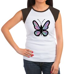 Patchwork Butterfly Women's Cap Sleeve T-Shirt
