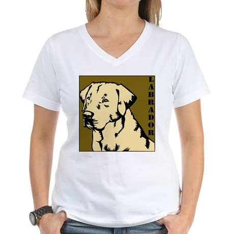 Yellow Military Lab Women's V-Neck T-Shirt