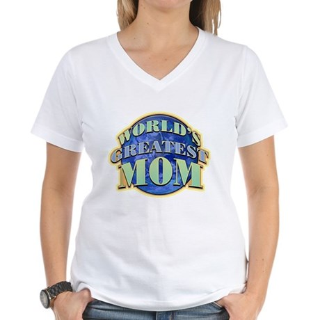 World's Greatest Mom Women's V-Neck T-Shirt