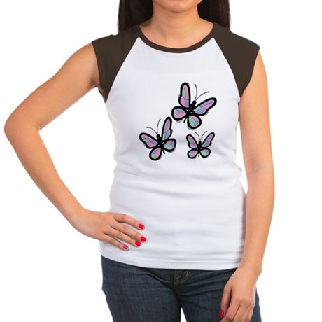 Patchwork Butterflies Women's Cap Sleeve T-Shirt
