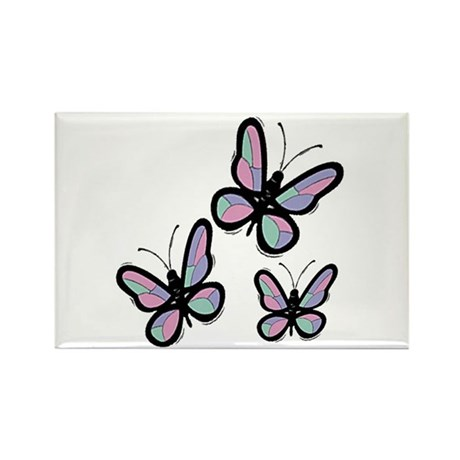 Patchwork Butterflies Rectangle Magnet