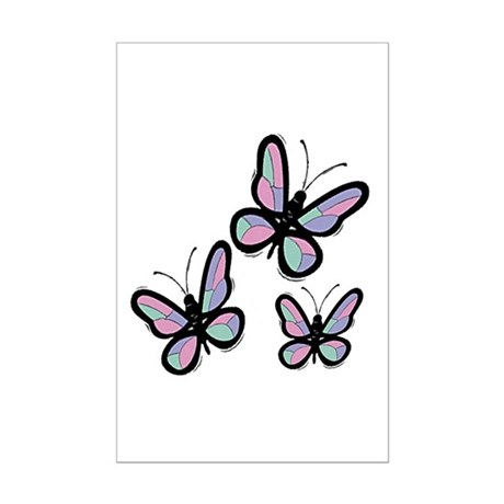 Patchwork Butterflies Mini Poster Print