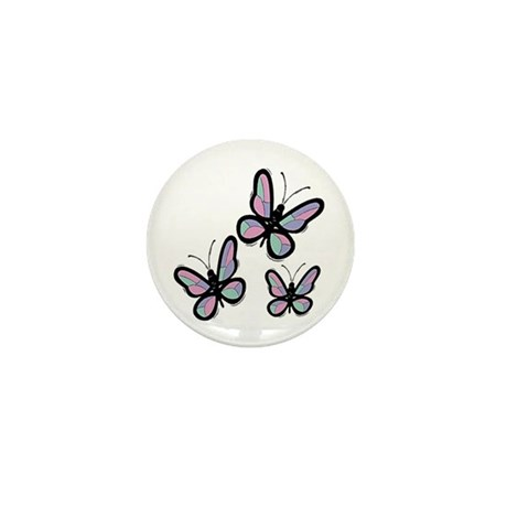 Patchwork Butterflies Mini Button (10 pack)