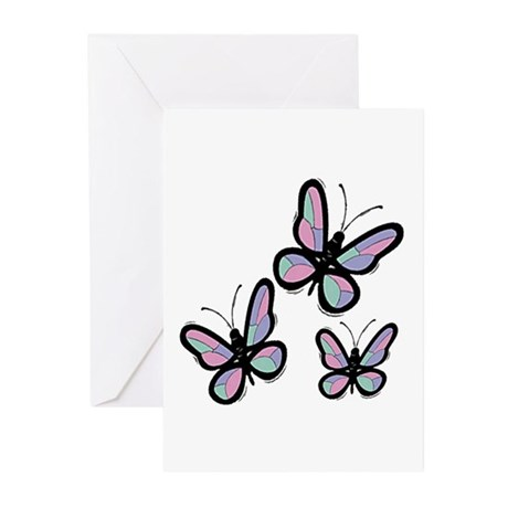 Patchwork Butterflies Greeting Cards (Pk of 10