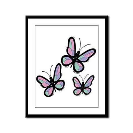 Patchwork Butterflies Framed Panel Print