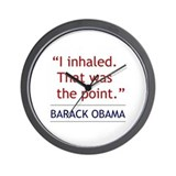 "Obama Quote - ""I Inhaled"" Wall Clock"