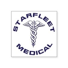"Starfleet Medical Transpare Square Sticker 3"" x 3"""