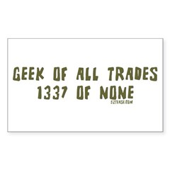 Geek of All Trades Rectangle Sticker