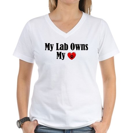 Lab Owns My Heart Women's V-Neck T-Shirt