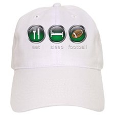 Eat Sleep Football : Green Baseball Cap