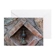 Meteora. Oil lamp embedded in stone  Greeting Card