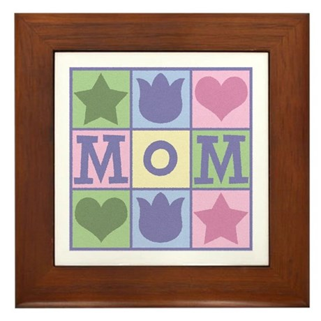 Fun Mom Quilt Squares Framed Tile