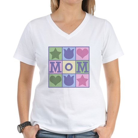 Fun Mom Quilt Squares Women's V-Neck T-Shirt