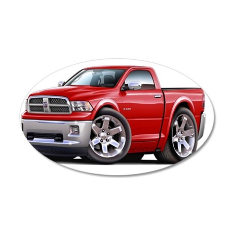 2010-12 Ram Red Truck 35x21 Oval Wall Decal