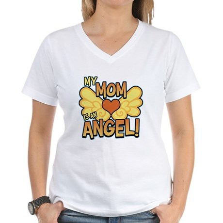 My Mom Angel Women's V-Neck T-Shirt