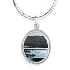 Iceland, Grindavik, Blue Lago Silver Oval Necklace