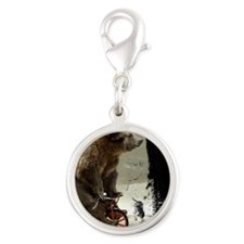 bear on tric mouse Silver Round Charm