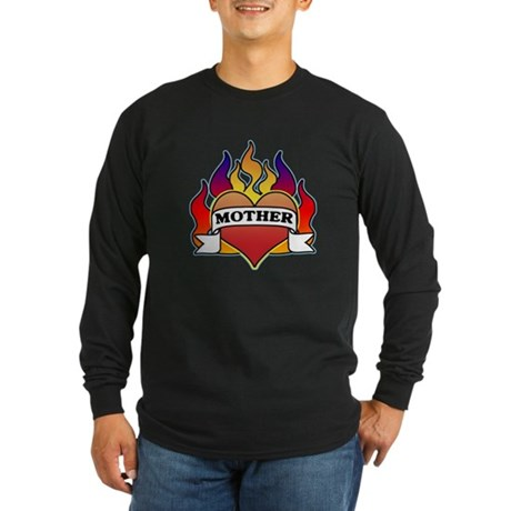 Mother Heart Tattoo Long Sleeve Dark T-Shirt