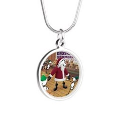 Great Moments: Santa Silver Round Necklace