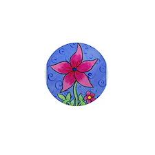 Pink Flower Mini Button