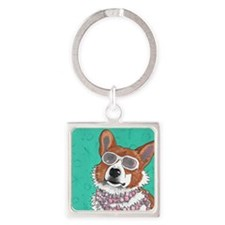 Superstar Corgi Square Keychain