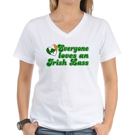 Everyone loves an Irish Lass Women's V-Neck T-Shir