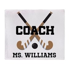 Personalized Field Hockey Coach Throw Blanket