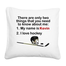 Two Things Hockey Square Canvas Pillow