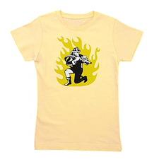 fireman firefighter kneel aim fire hose Girl's Tee