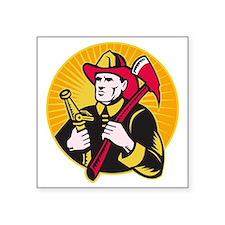 "fireman firefighter holding Square Sticker 3"" x 3"""