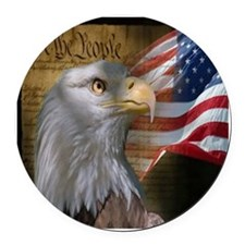 We The People Eagle Flag Round Car Magnet