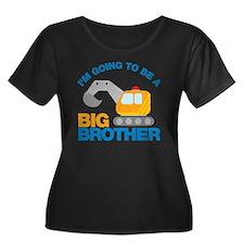 DigTruck Women's Plus Size Dark Scoop Neck T-Shirt