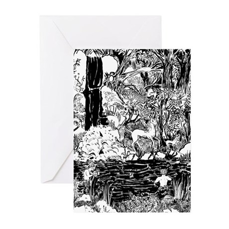 Unicorns in Faun Forest Greeting Cards (Package of